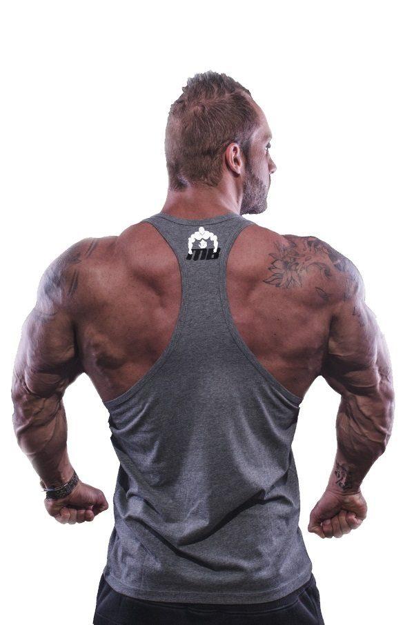 Fitness Tank Top Heren Vertical Grijs - Muscle Brand-2