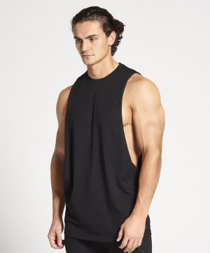 Fitness Tank Top Heren Zwart Cut Off - Pursue Fitness-1