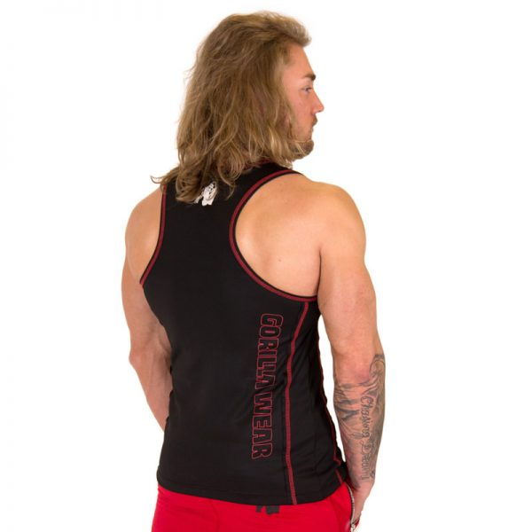 Fitness Tank Top Heren Zwart Rood - Gorilla Wear Kenwood-2