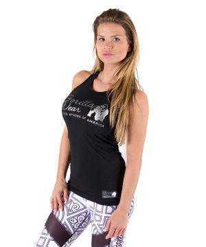 Fitness Tanktop Dames Zwart zilver - Gorilla Wear Florence-1