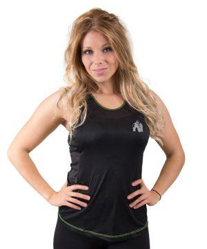 Fitness Tanktop Dames zwart groen - Gorilla Wear Marianna-1