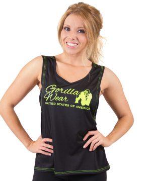 Fitness Tanktop Dames zwart groen - Gorilla Wear Odessa-1