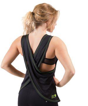 Fitness Tanktop Dames zwart groen - Gorilla Wear Odessa-2