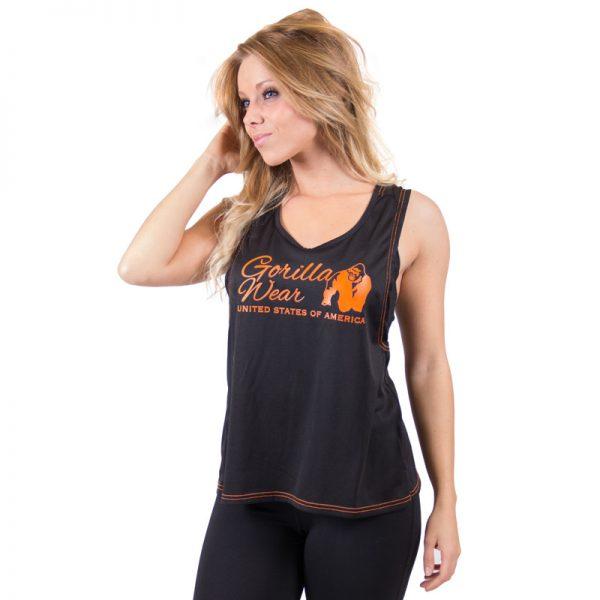 Fitness Tanktop Dames zwart oranje - Gorilla Wear Odessa-1