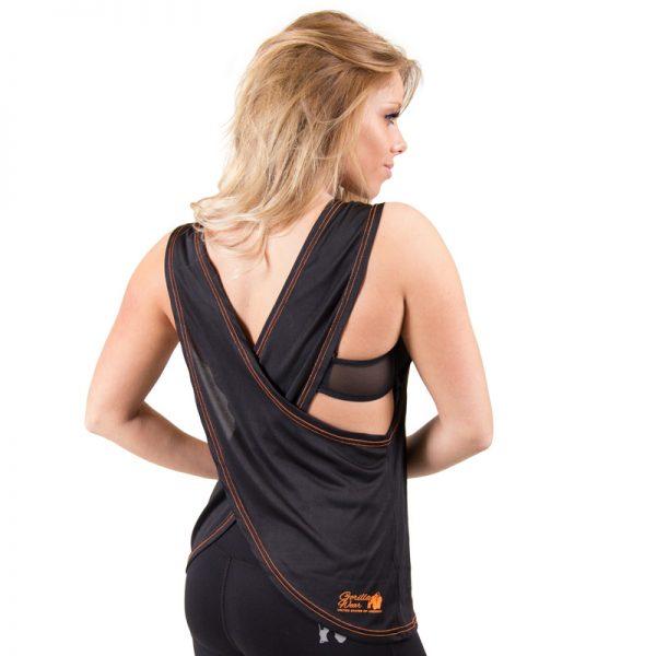 Fitness Tanktop Dames zwart oranje - Gorilla Wear Odessa-2