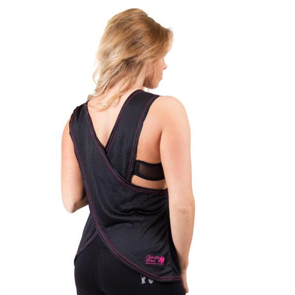 Fitness Tanktop Dames zwart roze - Gorilla Wear Odessa-2
