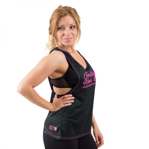 Fitness Tanktop Dames zwart roze - Gorilla Wear Odessa-3