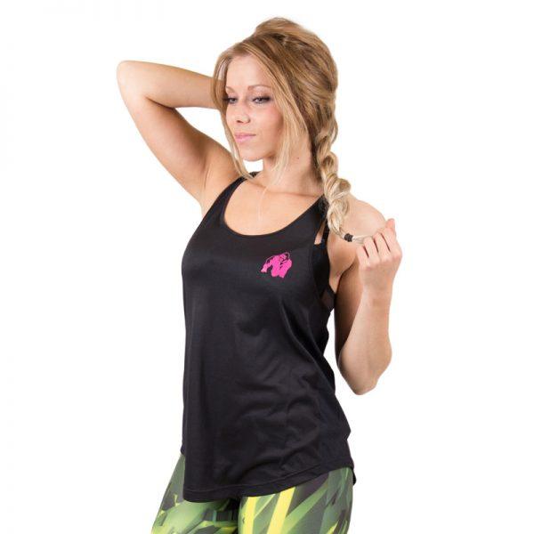 Fitness Tanktop Dames zwart roze - Gorilla Wear Santa Monica-1