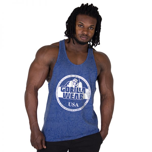 Fitness Tanktop Heren Blauw - Gorilla Wear Mill Valley-1