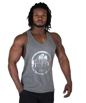 Fitness Tanktop Heren Grijs - Gorilla Wear Mill Valley-1