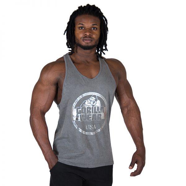 Fitness Tanktop Heren Grijs - Gorilla Wear Mill Valley-1