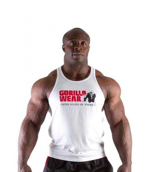 Fitness Tanktop Heren Wit - Gorilla Wear Classic-1