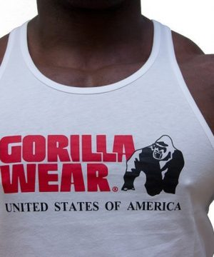 Fitness Tanktop Heren Wit - Gorilla Wear Classic-3