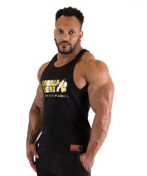 Fitness Tanktop Heren Zwart Goud - Gorilla Wear Classic-1