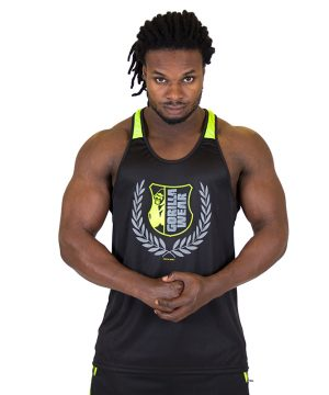 Fitness Tanktop Heren Zwart Groen - Gorilla Wear Lexington-1