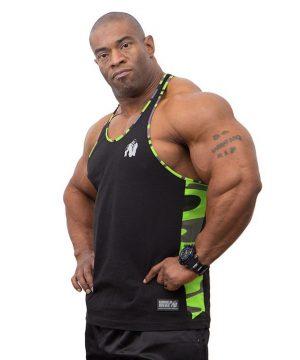 Fitness Tanktop Heren Zwart Groen - Gorilla Wear Sacramento-1