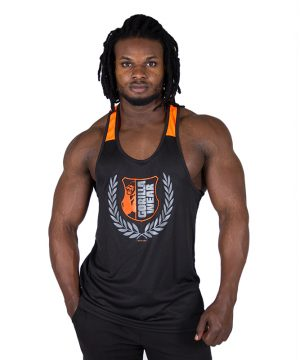 Fitness Tanktop Heren Zwart Oranje - Gorilla Wear Lexington-1