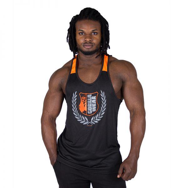 Fitness Tanktop Heren Zwart Oranje - Gorilla Wear Lexington-1