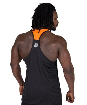 Fitness Tanktop Heren Zwart Oranje - Gorilla Wear Lexington-2