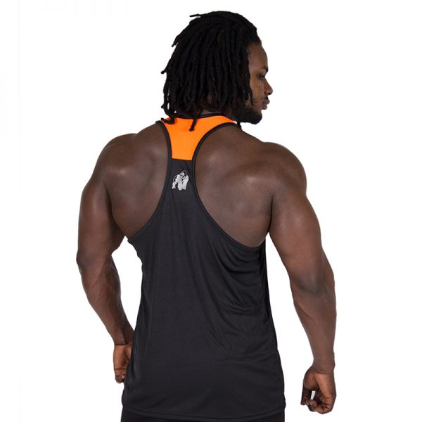 Fitness Tanktop Heren Zwart Oranje - Gorilla Wear Lexington-2