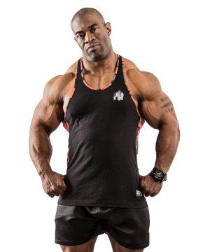 Fitness Tanktop Heren Zwart Oranje - Gorilla Wear Sacramento-1