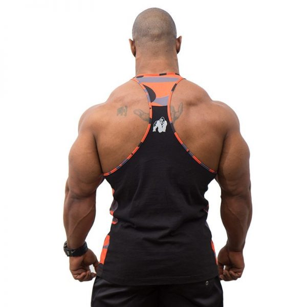 Fitness Tanktop Heren Zwart Oranje - Gorilla Wear Sacramento-2