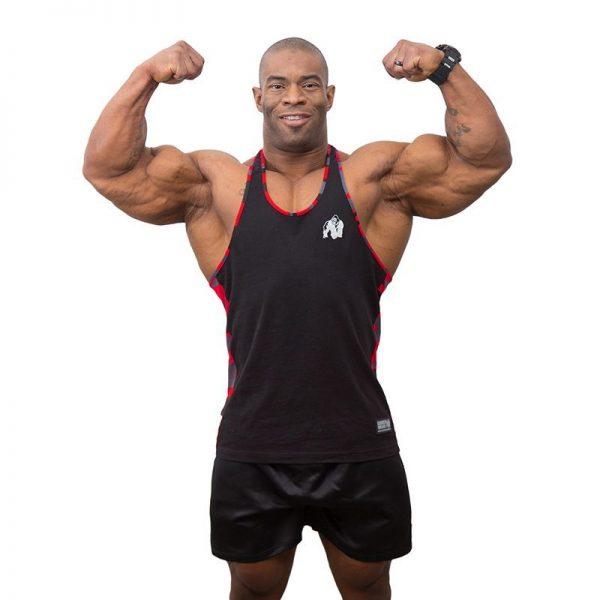 Fitness Tanktop Heren Zwart Rood - Gorilla Wear Sacramento-1