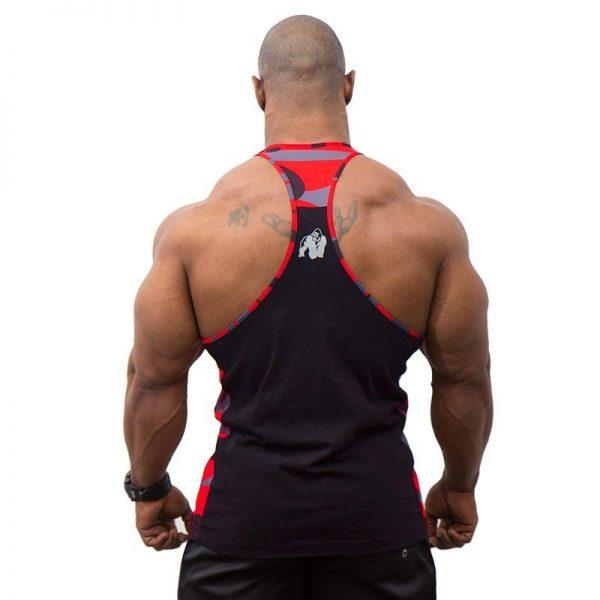 Fitness Tanktop Heren Zwart Rood - Gorilla Wear Sacramento-2