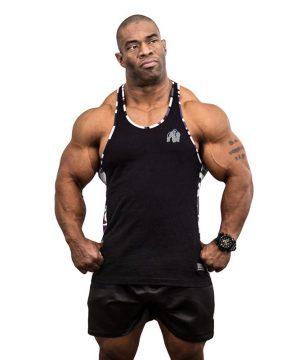 Fitness Tanktop Heren Zwart Wit - Gorilla Wear Sacramento-1