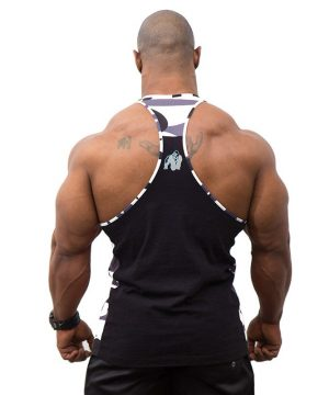 Fitness Tanktop Heren Zwart Wit - Gorilla Wear Sacramento-2