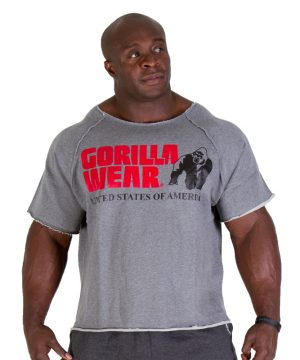 Fitness Trui Heren Grijs - Gorilla Wear Work Out Top-1