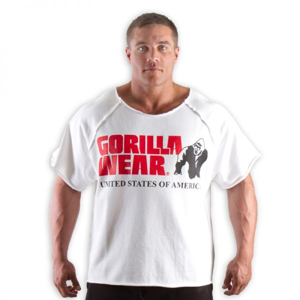 Fitness Trui Heren Wit - Gorilla Wear Work Out Top-1