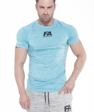 Fitness Shirt Heren Compressie Lichtblauw - Fitness Authority-1