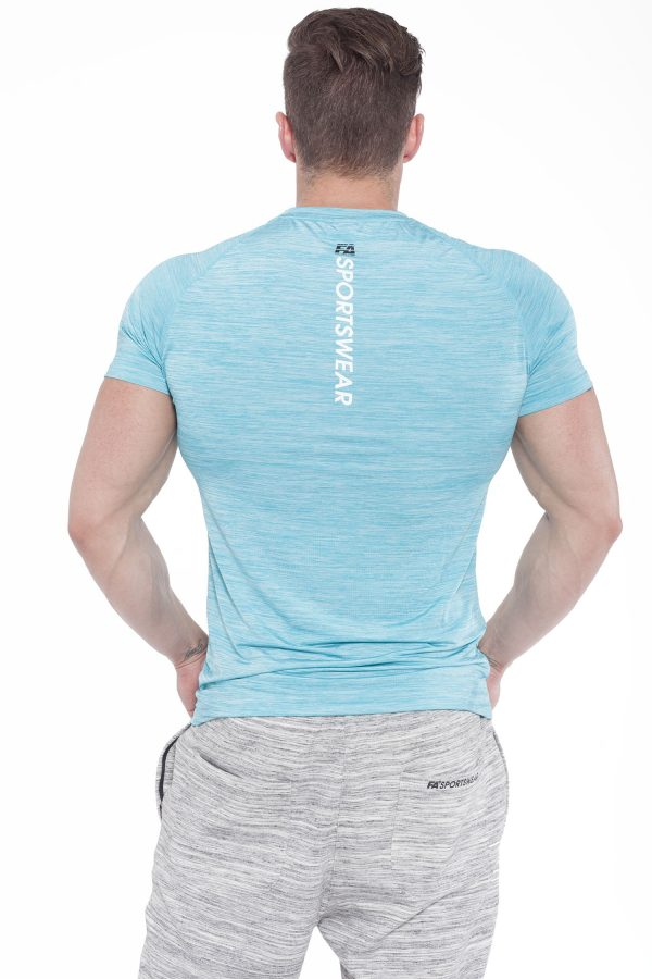Fitness Shirt Heren Compressie Lichtblauw - Fitness Authority-2