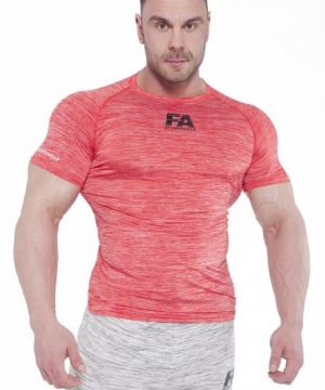 Fitness Shirt Heren Compressie Rood - Fitness Authority-1