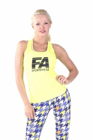 Fitness Tanktop Dames Basic Geel - Fitness Authority-1