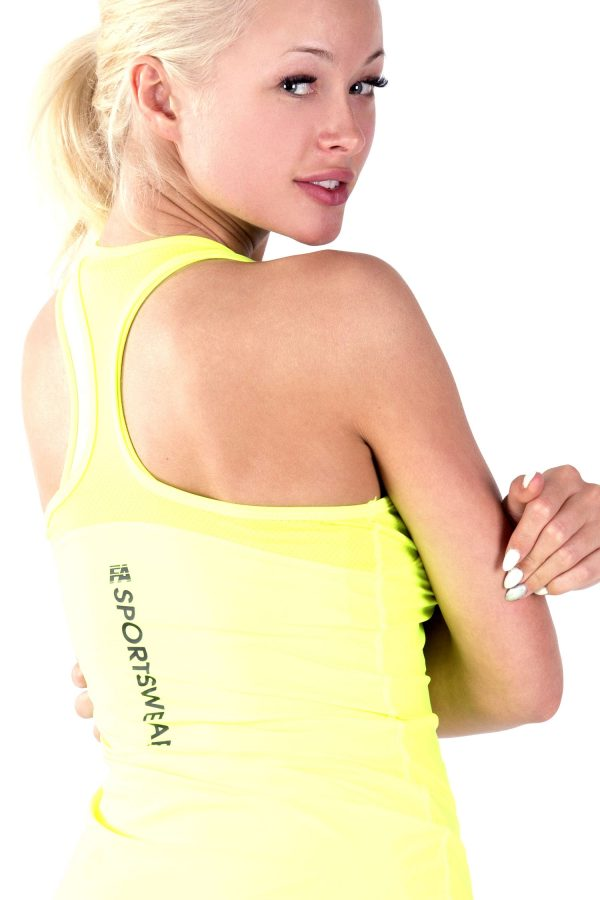Fitness Tanktop Dames Basic Geel - Fitness Authority-3