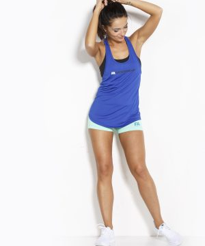 Fitness Tanktop Dames Loose Blauw - Fitness Authority-3