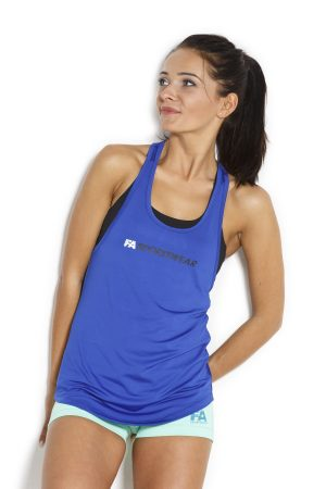 Fitness Tanktop Dames Loose Blauw - Fitness Authority-4