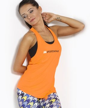 Fitness Tanktop Dames Loose Oranje - Fitness Authority-1