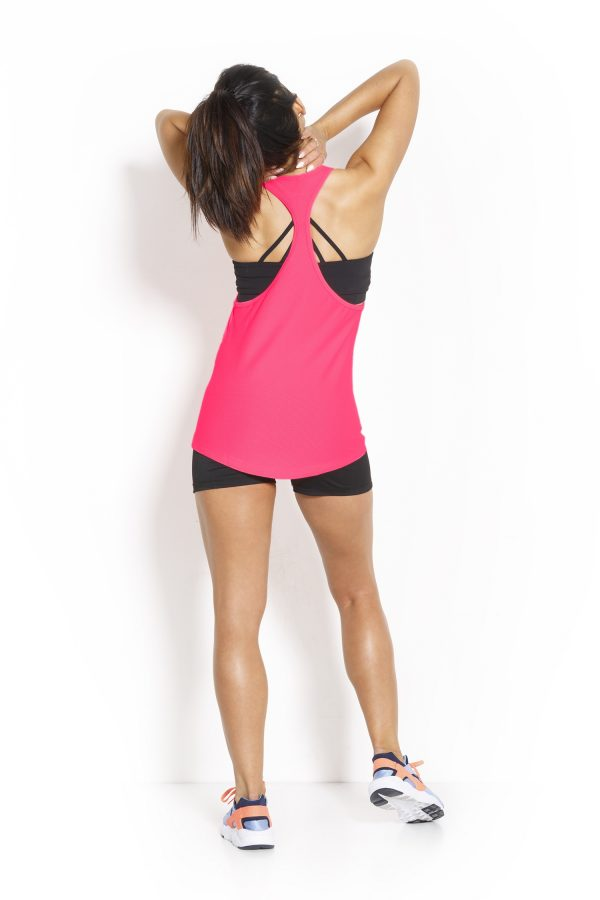 Fitness Tanktop Dames Loose Roze - Fitness Authority-2