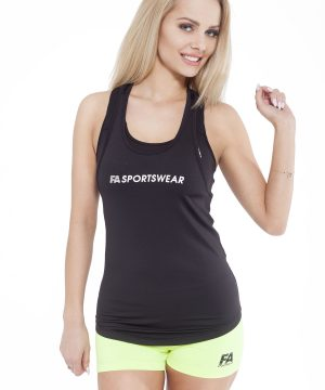 Fitness Tanktop Dames Loose Zwart - Fitness Authority-1