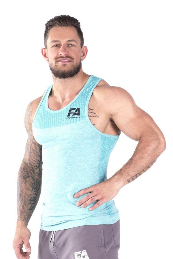 Fitness Tanktop Heren Basic Lichtblauw - Fitness Authority-2