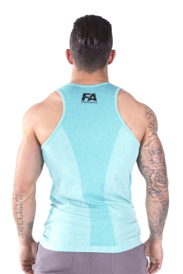 Fitness Tanktop Heren Basic Lichtblauw - Fitness Authority-3
