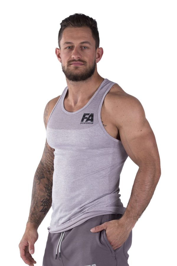 Fitness Tanktop Heren Basic Lichtgrijs - Fitness Authority-2