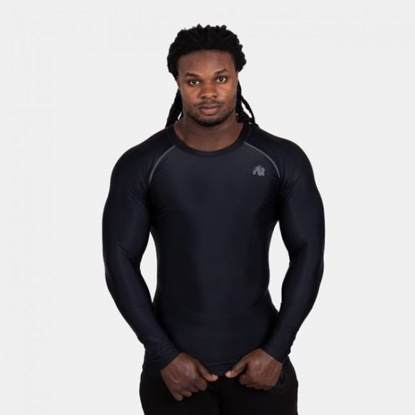 Compressie Longsleeve Zwart Grijs - Gorilla Wear Hayden-1