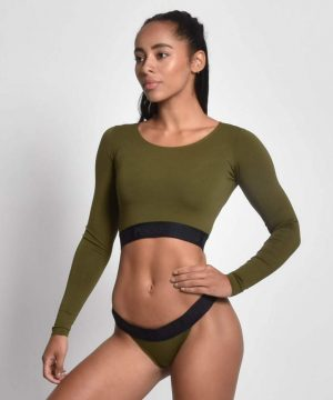 Fitness Crop Top Longsleeve Kaki - Pursue Fitness 1