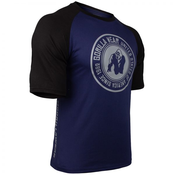 Fitness Shirt Heren Blauw_Zwart - Gorilla Wear Texas-1