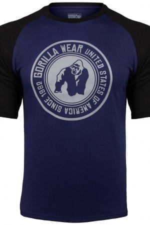 Fitness Shirt Heren Blauw_Zwart - Gorilla Wear Texas-2