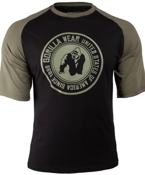 Fitness Shirt Heren Zwart_Groen - Gorilla Wear Texas-1